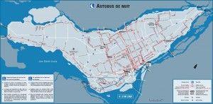 Plan bus nuit Montreal
