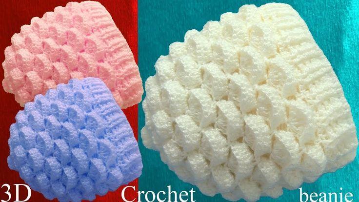 Crochet 3D Beanie Hat Marshmallow Stitch