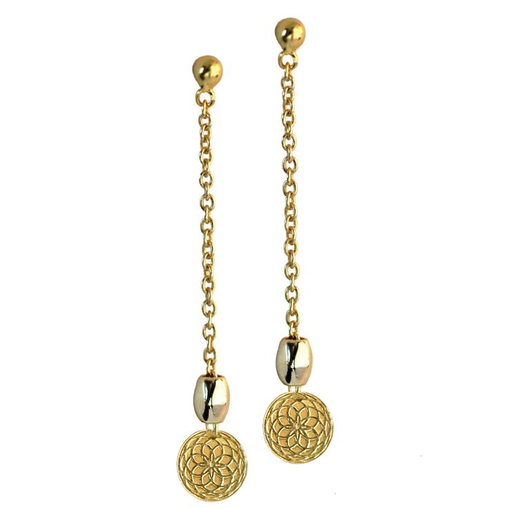 SHOP these amazing earrings now on https://cliquearcade.com.au/brands/83-lady-luks/1257-frida-earrings // This is a modern take on the drop earring. This piece utilises the fibonacci symbol - science and nature as one, and also uses the golden/silver bead. A versatile piece that is fine enough to wear from day into evening. All Lady Luks jewellery comes in beautiful gift packaging.