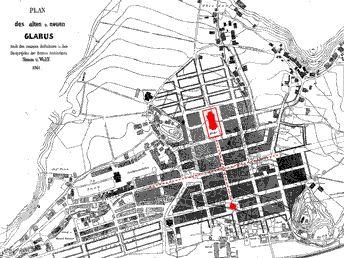 Stadtplan Glarus 1861