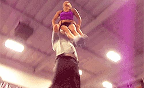 This pair always manages to stay in perfect alignment. | 13 Mighty Spirited Cheer Stunts