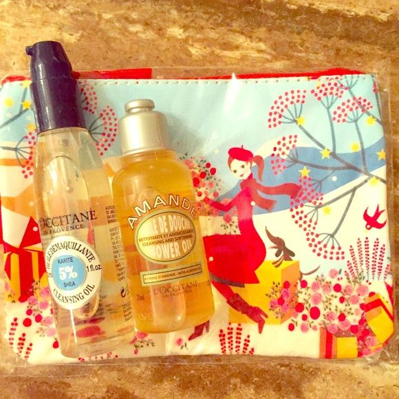 L'Occitane Bundle L'Occitane Oil Bundle with pouch. New. L'Occitane Makeup