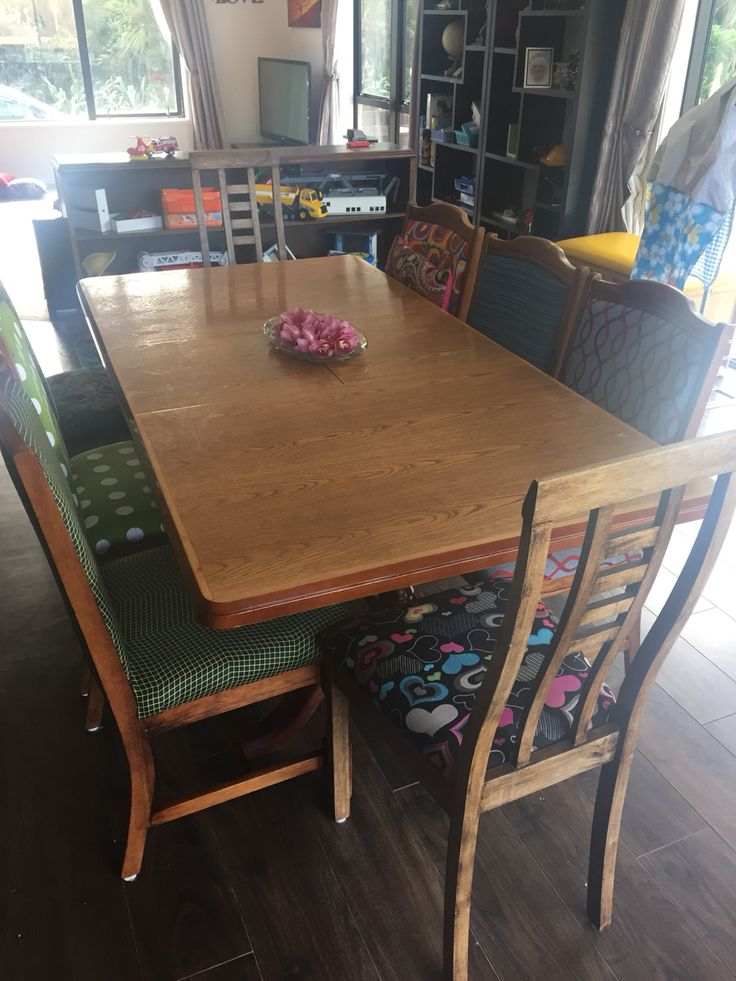 Restored dining room table and chairs