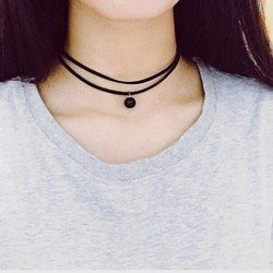 Vintage Bead Double-Layered Choker Necklace - BLACK