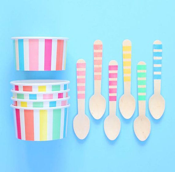 Pastel Rainbow Stripe Ice Cream Cups & by thebakersconfections