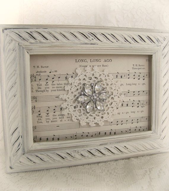 Shabby White Decor Altered Lace Art Vintage Rhinestone Collage Wall Art Cottage Chic Style Vintage Style Vintage Lace Framed Rhinestone