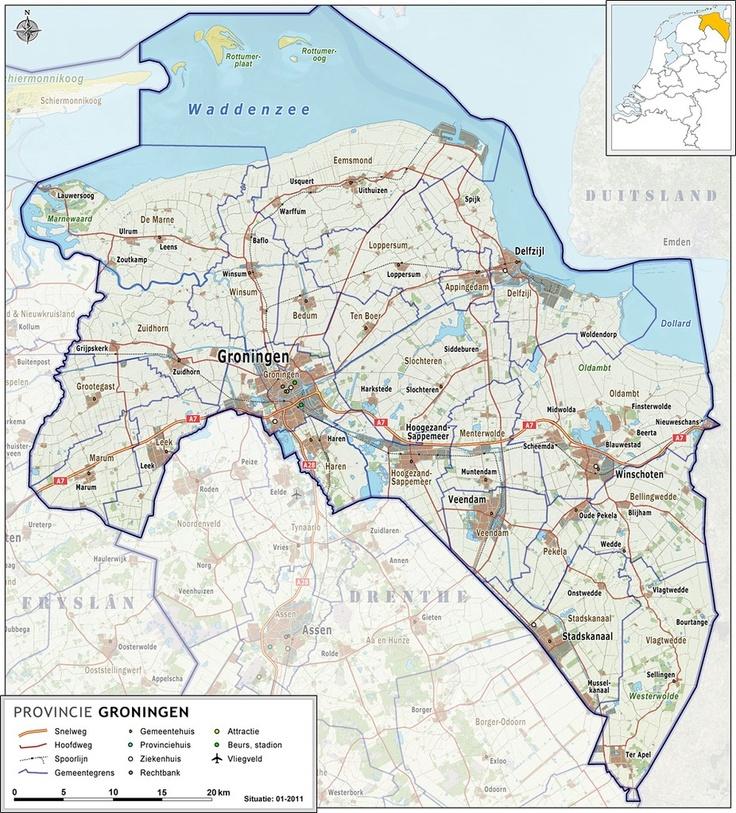Een kaart van de provincie #Groningen, Nederland #FeenstraERAMakelaardij #Haren