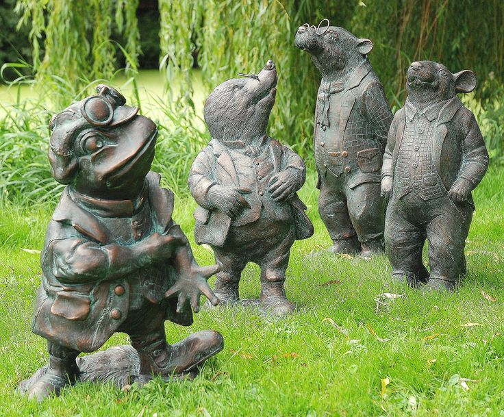 Wind in the Willows Set of 4 Bronze Garden Ornaments. Buy now at http://www.statuesandsculptures.co.uk/wind-in-the-willows-set-of-4-bronze-garden-ornaments