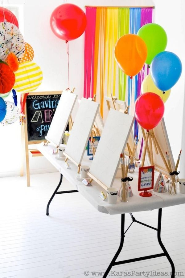 Colorful Art Themed birthday party - TONS of great ideas! by ellen