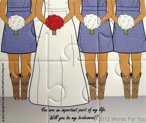With Cowboy Boots  Will You Be My Bridesmaid / Maid by WordsForYou, $12.00