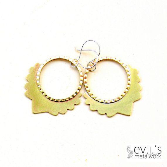Brass Hoop Teardrop Tribal Earrings Sterling Ear by evismetalwork, €25.00