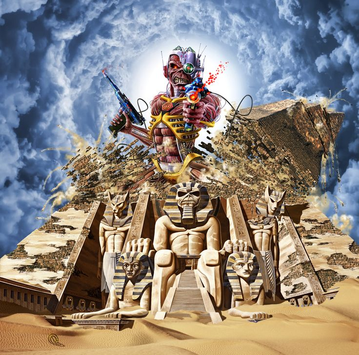 """""""…the band were playing songs from """"Powerslave"""" and """"Somewhere in Time"""". The brief was to combine those two sets of images and come out with something that worked."""""""