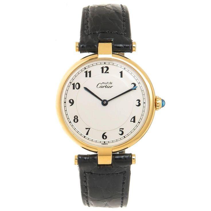 Cartier Large Vermeil Must de Cartier vendome Quartz Wrist Watch For Sale at 1stdibs