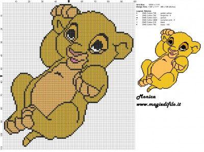 Schema punto croce baby Simba (Il re leone) 100x101 6 colori.jpg (2.98 MB) Mai osservato