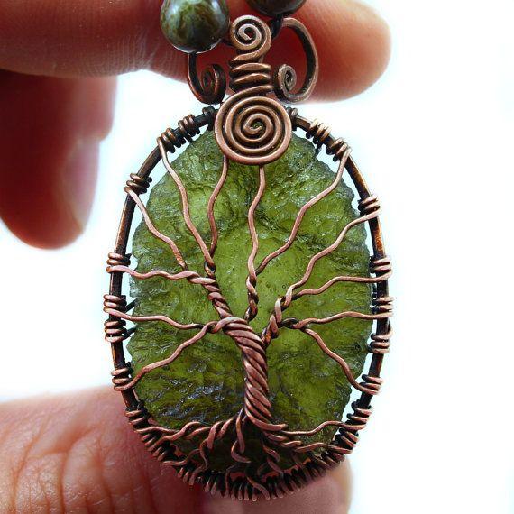 Rare Moldavite tree of life pendant, handcrafted jewelry, bare copper Natural Moldavite