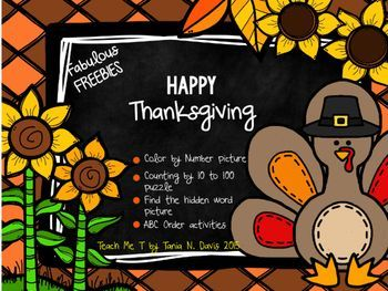 Thanksgiving Activities ~FREEBIE~ Celebrate Thanksgiving with these fun and attention-grabbing activities!  Your students will love the color by number, ABC Order, Counting by 10s, and Hidden Word activities! Fabulous, Fun and Free!