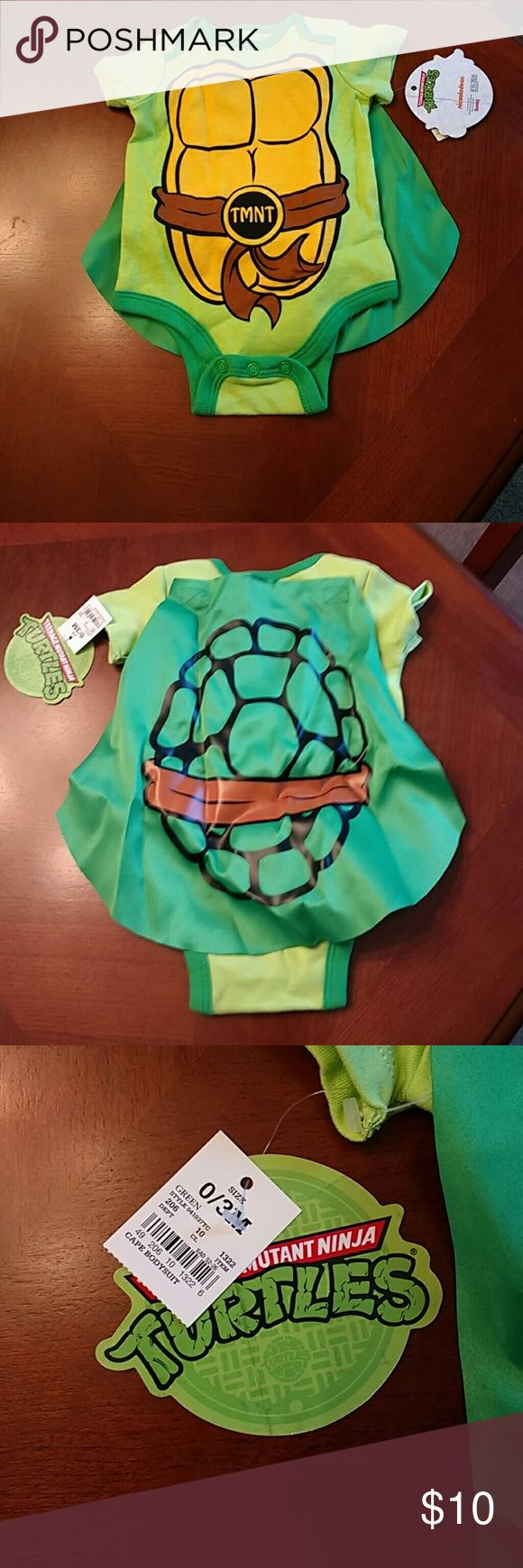 """Baby Teenage Mutant Ninja Turtles onesie- 0-3, new Never worn, still has tags, Teenage Mutant Ninja turtle onesie with """"attached""""  shell ( removable by velcro). Has tags still on. Nickelodeon One Pieces Bodysuits"""