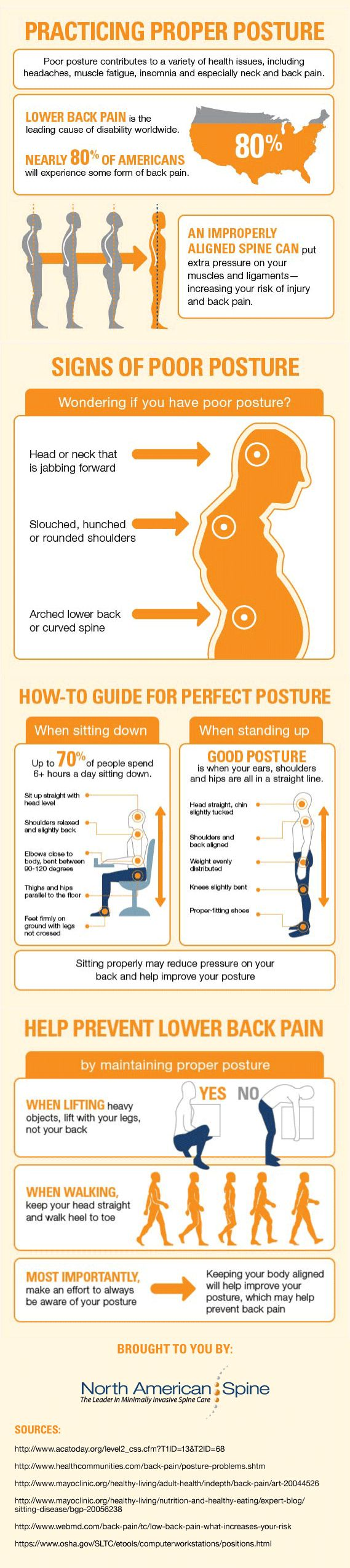 Practicing Proper Posture Infographic - Poor posture not only affects the way you look, it can lead to harmful health problems such as headaches, tension, soreness, insomnia and even neck and #back pain. Then, straighten up your back with this how-to guide for perfect #posture and best practices to prevent lower back pain