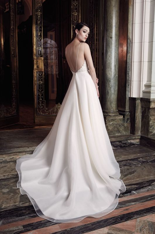 Style 2007 - ON SALE! Your Dream Bridal | Mikaella Beaded Lace and Organdy Wedding Dress. Beaded lace bodice with spaghetti straps. A-line organdy skirt with horsehair finished hem. Cathedral Train.