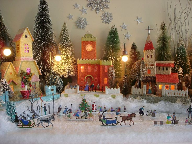 Antique Cardboard Christmas House ~ Part of the vintage putz collection of Antoinette Stockenberg
