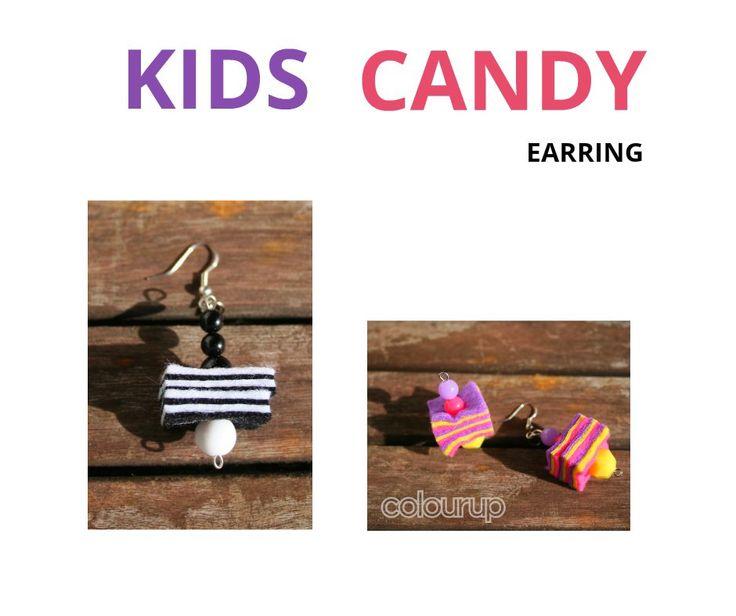 KIDS CANDY EARRING €2,75 (vilt en acryl kralen) #candy #felt #vilt #Earring #oorbellen #oorbel #beads #kralen #buy #kopen #gift #present #purple #paars #yellow #geel #pink #roze #handmade #handgemaakt #spring #lente #fun #online #happy #snoep #fashion #hip #funny #kids #kidsfashion #kidsstyle #kid #jewelry