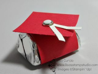 Simple graduation party favor created from a single Hershey's nugget.  Video tutorial shows you how. Stampin' Up!, cap, gown, high school, college, grad
