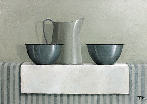 Two Blue Bowls, Oil on Board