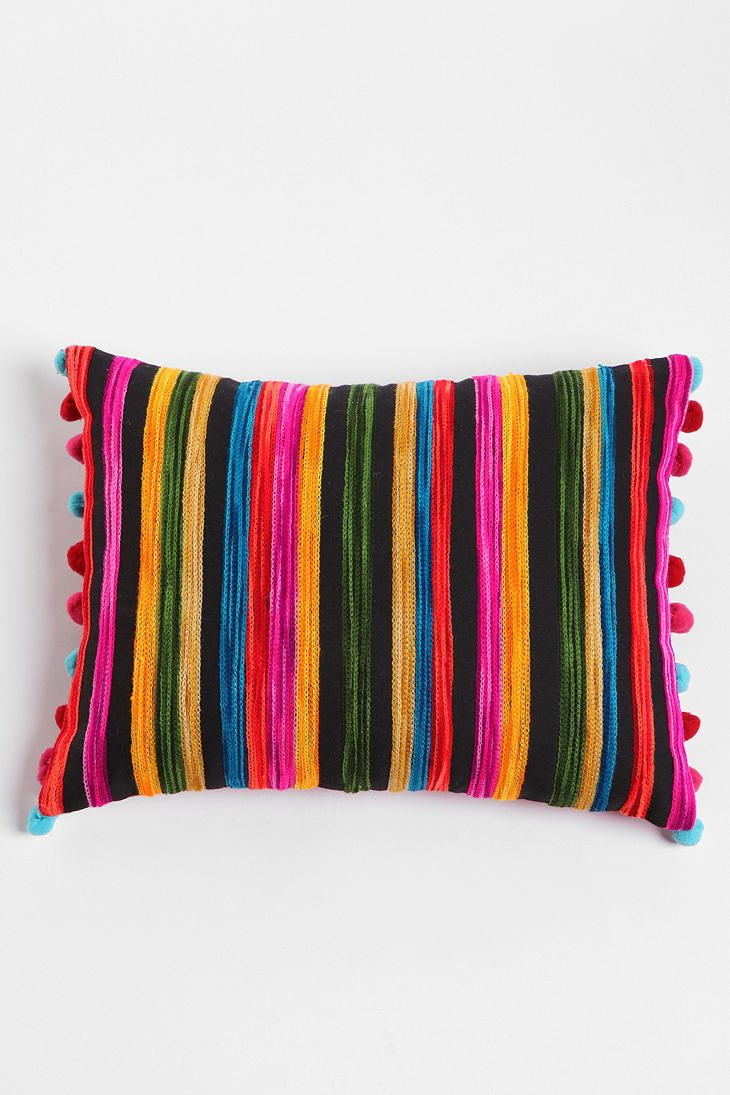 Embroidered Ikat Stripe Pillow #urbanoutfitters