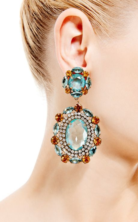 1960S Kenneth Jay Lane Clip On Earrings by House of Lavande for Preorder on Moda Operandi