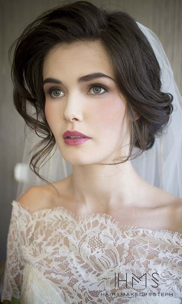 Romantic updo wedding hairstyle - medium hair, elegant. See more: http://www.weddingforward.com/romantic-bridal-updos-wedding-hairstyles/ #weddinghairstyles #bridalhairstyles