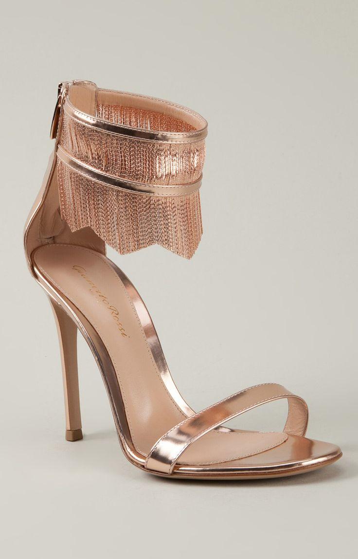 Rose gold fringe heels / Gianvito Rossi #gatsby #artdeco