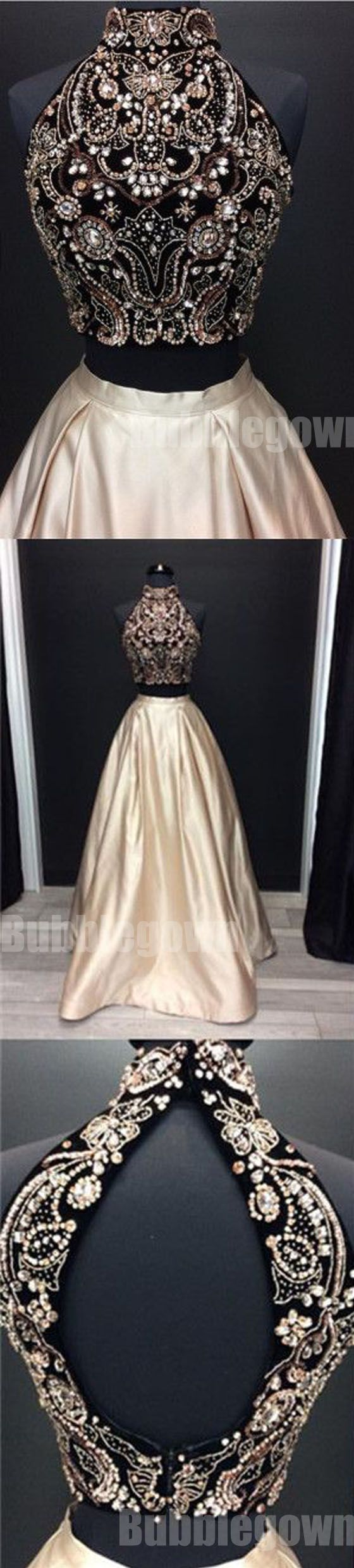 Two Pieces High Neck Beaded Affordable Long Evening Prom Dresses, BGP039