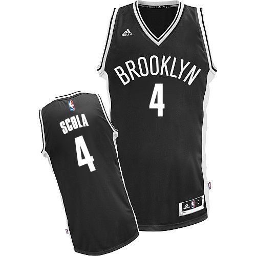 Men's Adidas Nets #4 Luis Scola Swingman Home NBA Jersey - Black