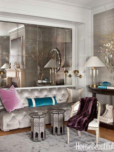 Antiqued mirrors. Design: Benjamin Dhong. housebeautiful.com
