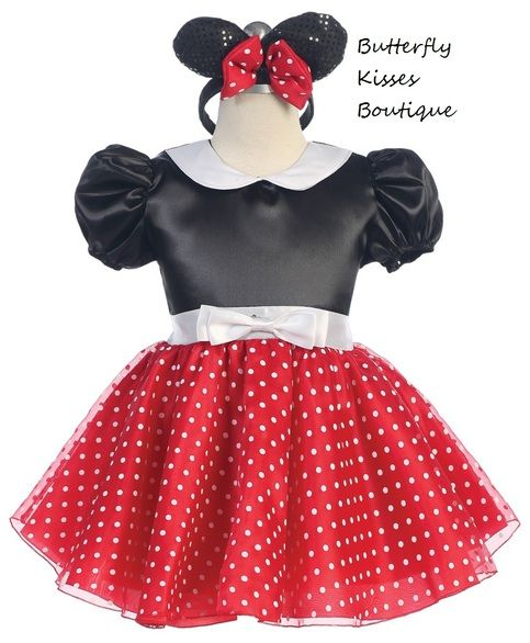 Darling and dainty!  Black & Red Minnie Mouse Infant/Toddler Girls Costume has a full skirt polka dot dress made of satin taffeta, the dress has a lace up back so that it is adjustable. Comes with sparkling sequins headband ears and red bow and black tights. 3 piece set.   Toddler Sizes: 1(18-24m