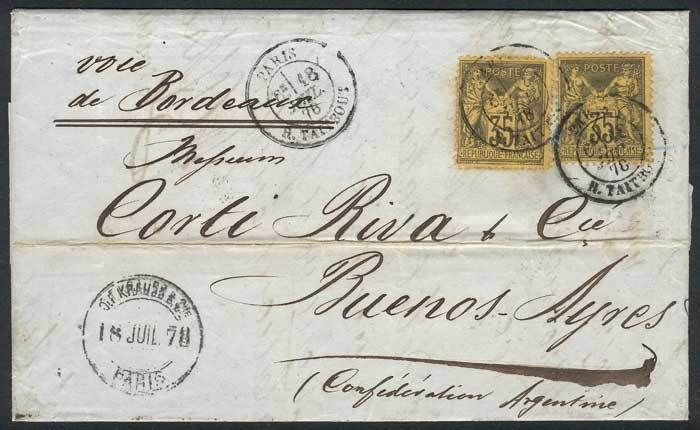France, 18/JUL/1878 PARIS - ARGENTINA: folded cover franked by Yv.93 x2, with arrival backstamp of Buenos Aires, VF quality, rare! Starting Price (11/2016): 80 EUR.
