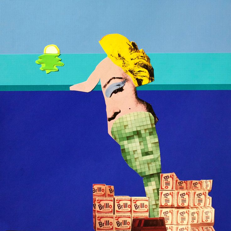 Venus Waiting for the Green Flash, Papercut collage, 20 x 20 inches matted and framed, 2016 AVAILABLE #art #arte #artists #artwork #finart #popart #collage #tiko #kerr #tikokerr