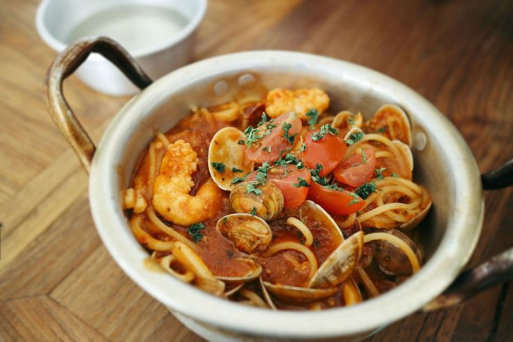 Seafood pasta with truffles.