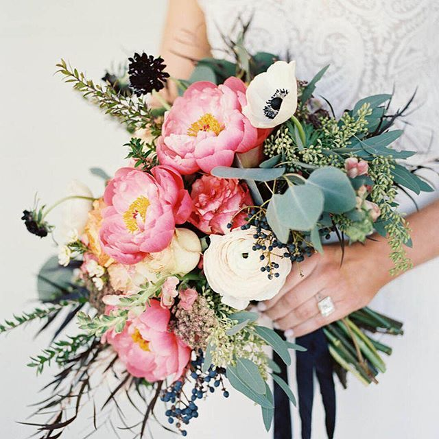 coral charm peony bridal bouquet with eucalyptus and black and white accents by Sage Nines Event Production