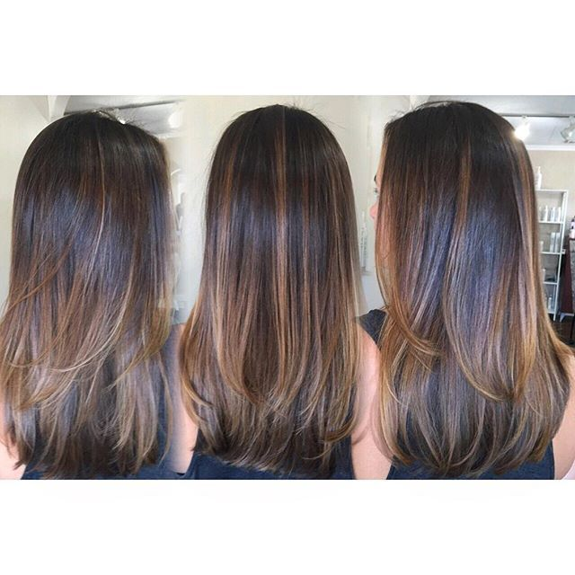 Brunette beauty ✨ Cool toned chocolate colormelt with balayage highlights •…