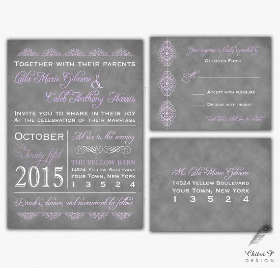 Purple Typography Wedding Invitation & RSVP Postcard - Printed, Rehearsal Engagement Chalkboard Grey Lace Romantic Lilac - SHOP: chitrap.etsy.com