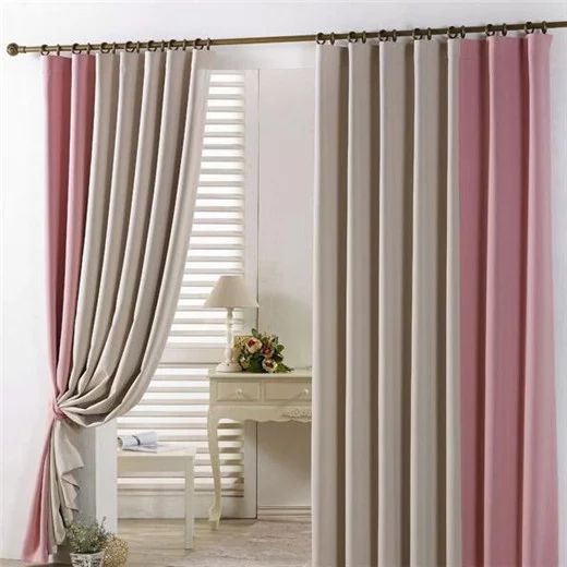 Best Insulated And Thermal Beige Pink Blackout Curtains In Stitching Color Modern Style For Living Room Or