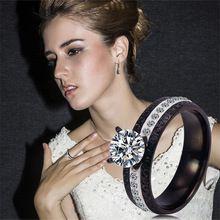 Itália Bijoux Femme Anel Zirconia Feminino mulheres de titânio anéis de noivado casamento jóias cristal jóias J1511(China (Mainland))