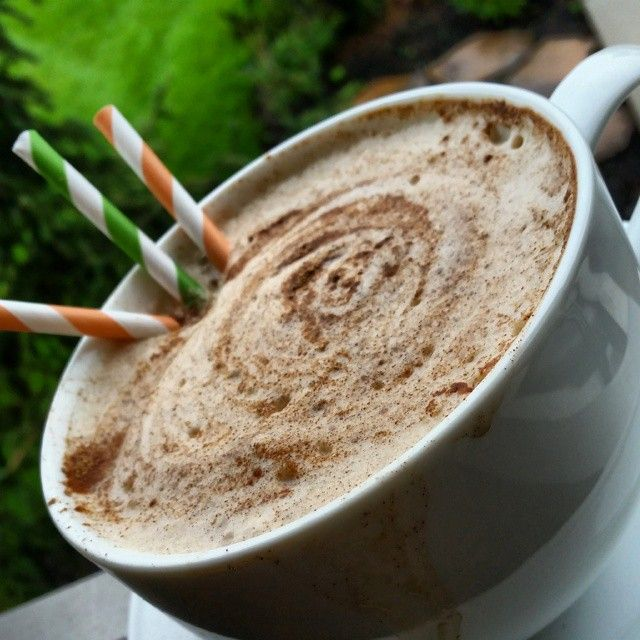Make your own at HOME! {Directions for HOT or ICED} Definitely feels like Fall! ☆HOT Latte: {IN BLENDER COMBINE} 1/2 cup HOT unsweetened almond milk or HOT coconut milk 1 tsp vanilla extract 1/4 tsp stevia granules or sweetener of choice 1 cup freshly brewed HOT coffee... #drinks #latte #pumpkin