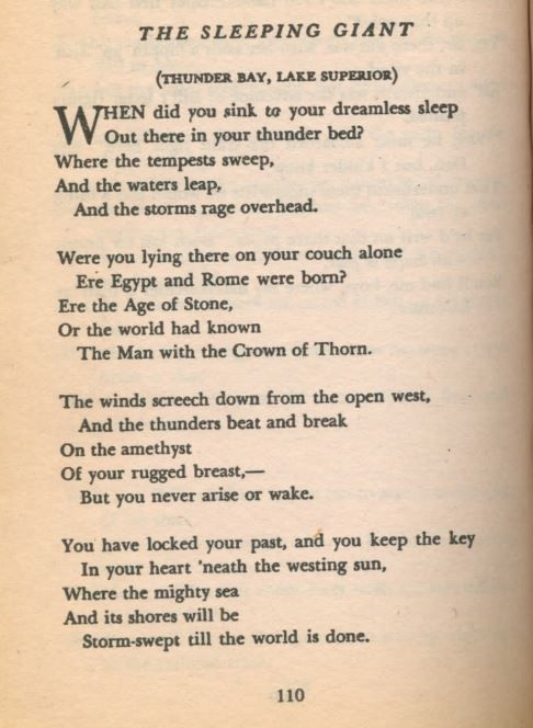 Poem by Pauline E. Johnson while she was travelling through Thunder Bay, written about the Sleeping giant