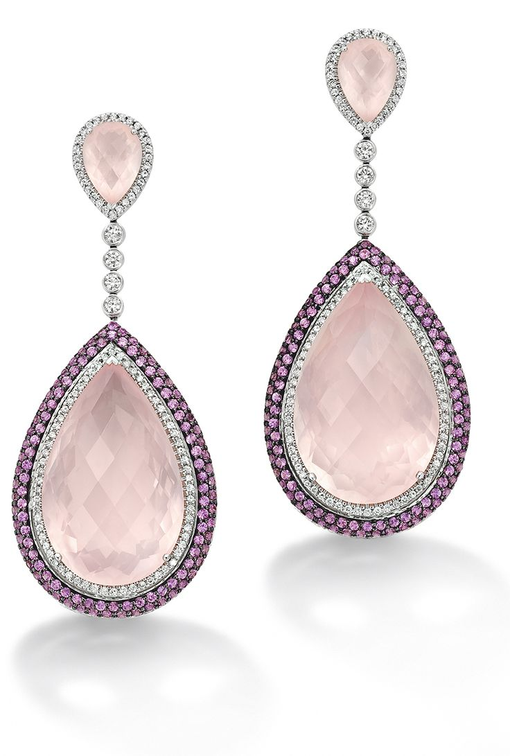 Deluge earrings with rose quartz centres and pink sapphire and diamond pavé surround - Robinson Pelham Jewellers