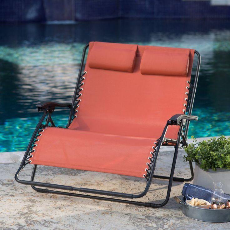 Zero Gravity Patio / Pool Loveseat Recliner in Terracotta