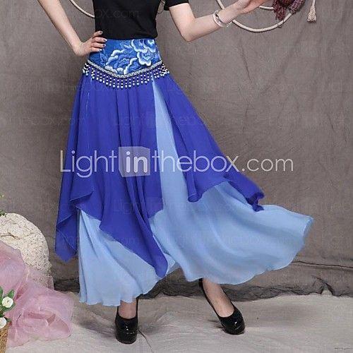 bohème roman douce mousseline jupe longue irrégulière des femmes (perles aléatoire) - CAD $59.76