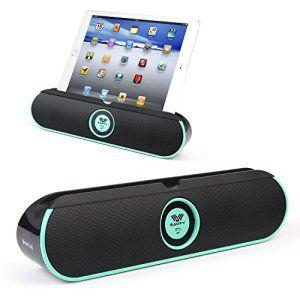[Double 5W Haut-Parleurs Stéréo Bluetooth]SAVFY® BASS Enceinte Bluetooth 4.0 Haut-Parleur portable Smart NFC 8 heures batterie rechargeable…