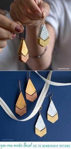DIY Shrink Film Geometric Earrings - www.LiaGriffith.com - #diyjewelry #diyearrings #diyshrinkydink #diyshrinkfilm #shrinkfilmjewelry #shrinkfilmearrings #geometricjewelry #geometricearrings #handmadeearrings #handmadejewelry